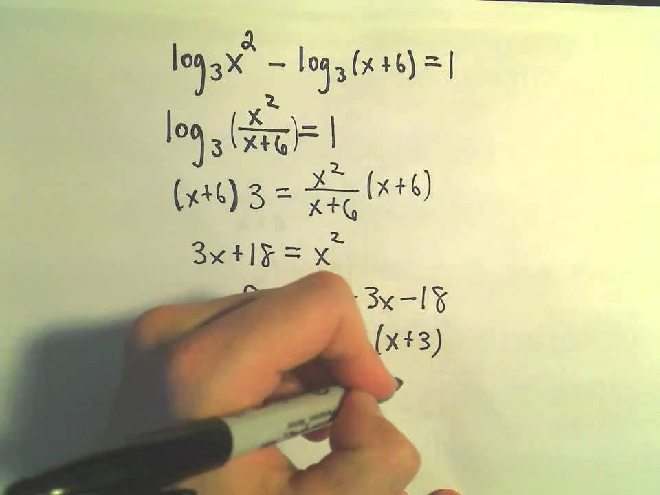 Solving Logarithmic Equations Example 1 Youtube