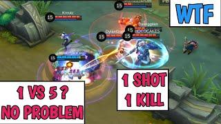 1 VS 5? NO PROBLEM | 1 SHOT 1 KILL | INSANE GAME | MOBILE LEGENDS
