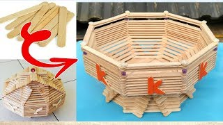 DIY, How to make fruit basket  /  popsicle stick crafts  / ice cream stick ideas / handmade basket