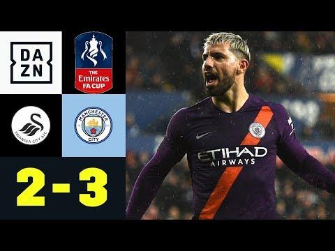 Sergio Aguero trifft irregulär zum Sieg: Swansea City - Manchester City 2:3   FA Cup   DAZN