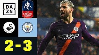 Sergio Aguero trifft irregulär zum Sieg: Swansea City - Manchester City 2:3 | FA Cup | DAZN