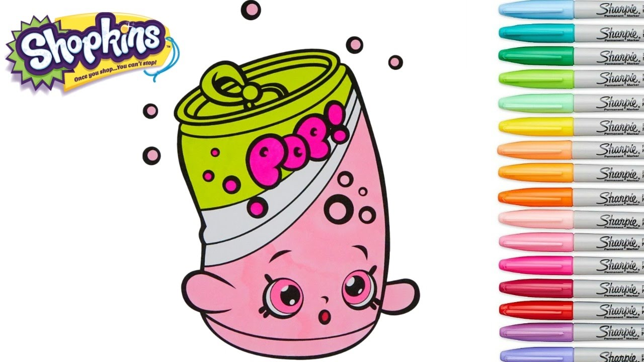 Shopkins Coloring Book Soda Pops Season 1 Ultra Rare Rainbow Splash Pages