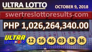 PCSO LOTTO RESULTS OCTOBER 9 2018 9PM all draw (6/58 result w/ jackpot of 1.026 Billion)