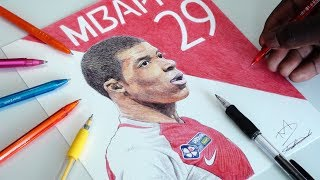 Mbappe Pen Drawing - AS Monaco - DeMoose Art