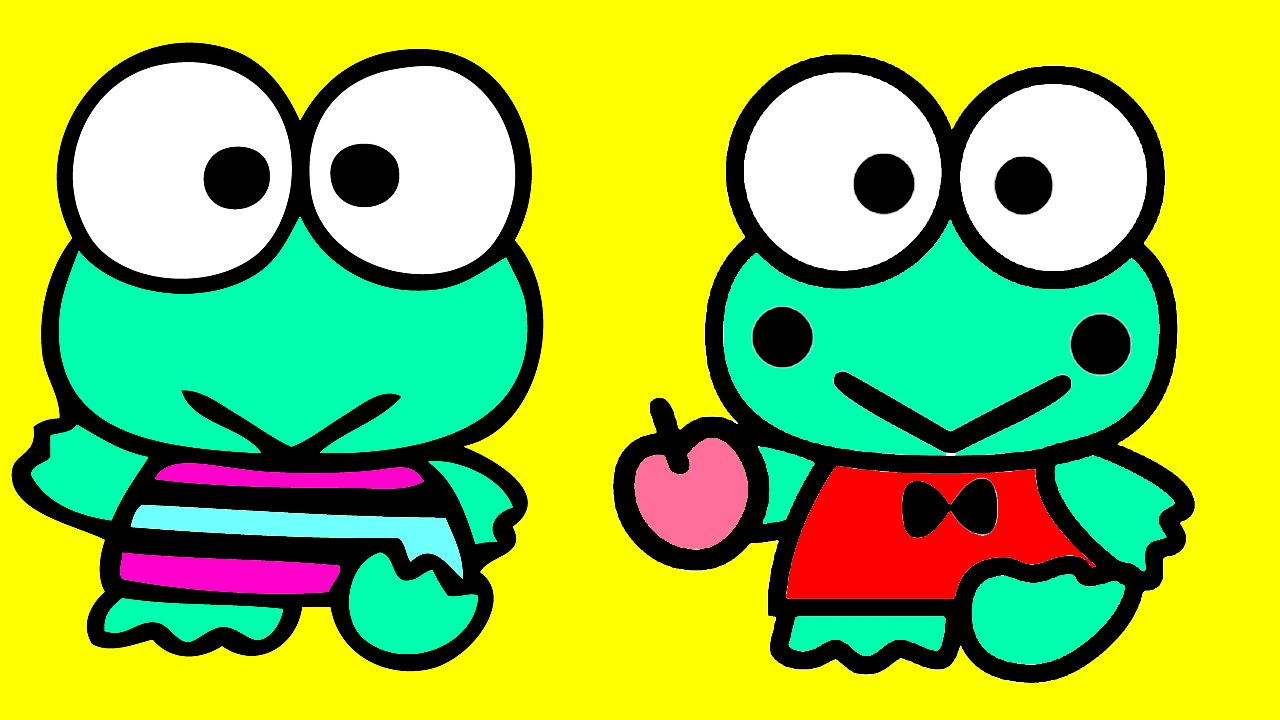 Keroppi Frog and Hello Kitty Coloring