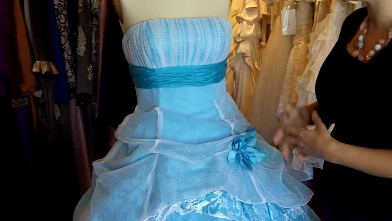 Sky Blue And White Wedding Dress
