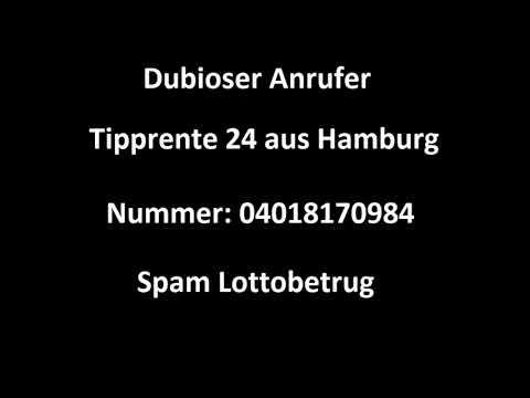 Dubioser Anrufer - Callcenter Schwachsinn - Tipprente 24 aus Hamburg - Spam Lottobetrug - Cold Call