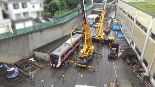 都営浅草線新型車両搬入時の動画です。普段見る機会が無い車両と台車の...