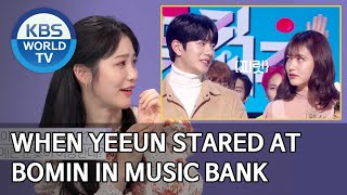When Yeeun stared at Bomin in Music Bank [Happy Together/2020.04.02]