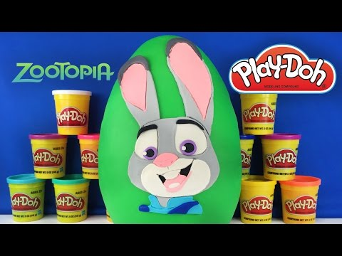 GIANT JUDY HOPPS Surprise Egg Play Doh  Disney Zootopia Toys ,LPS Lei Yang, Tsum Tsum, Num Noms