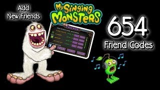 654 MSM Friend Codes to Share :) Diane Delsig 64094bi My Singing Monsters