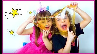 Makar and Ksenia  playing with colorful Slime* Family Fun for kids
