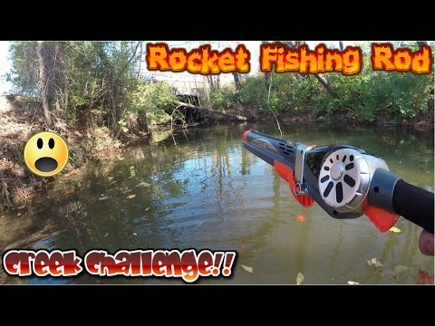 Catching Fish With Rocket Fishing Rod In Creek Challenge!?!