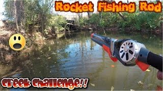 catching fish with rocket fishing rod in creek challenge