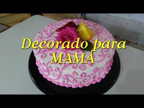 Pastel decorado para el dia de las madres youtube for Decoracion para el dia de la madre