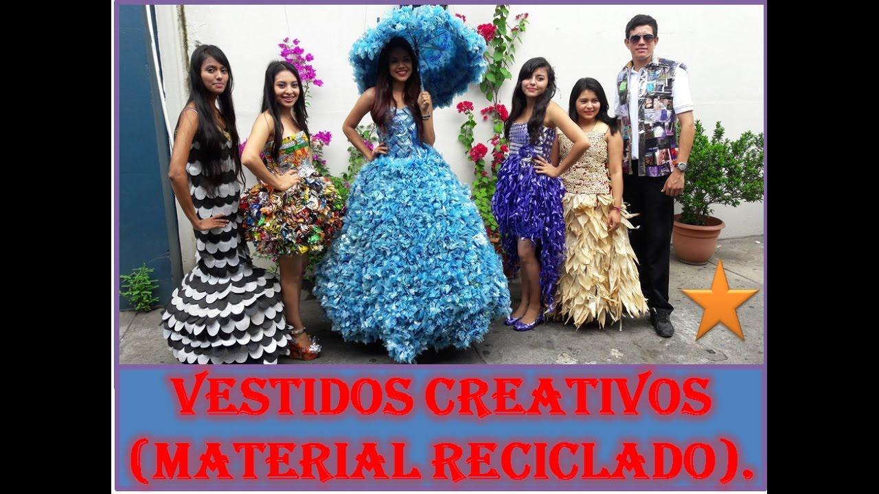 Ideas De Vestidos Creativos Elaborados Con Material Reciclable