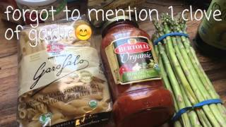 vegan recipe vegan pasta with asparagus and spinach. High carb low fat. Fast and easy!