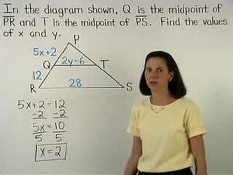 Midsegment Of A Triangle Mathhelp Com Geometry Help Youtube