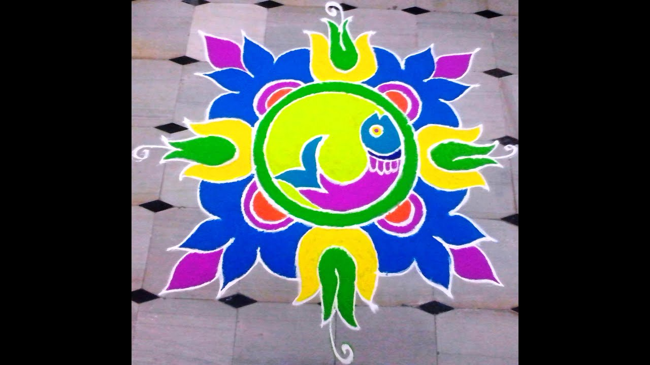 Sankranti muggulu - Colorful rangoli designs for pongal / New Year ... for Latest Rangoli Designs With Dots For New Year 2015  555kxo