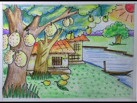 how to draw summer season for kids