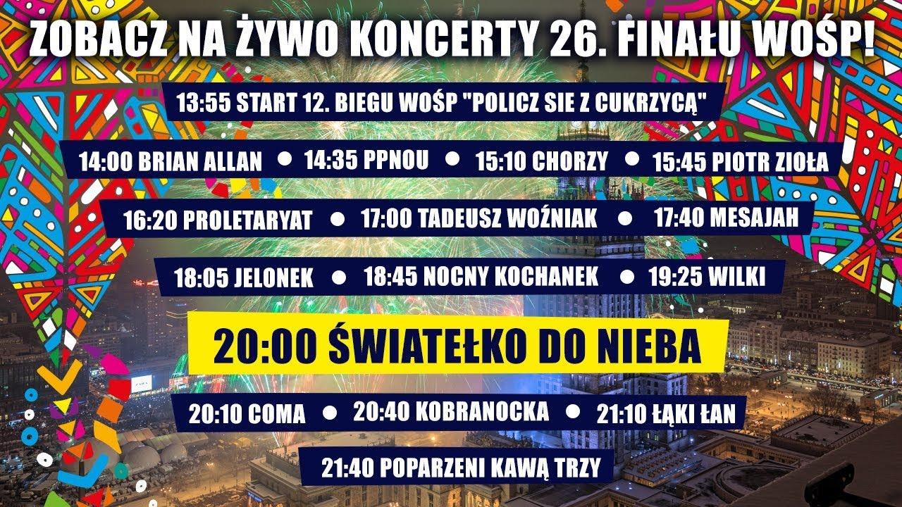 Zobacz na żywo koncerty 26. Finału WOŚP! #livestream
