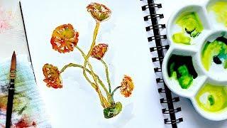 Algae: Acetabularia Acetabulum | Watercolour Tutorial