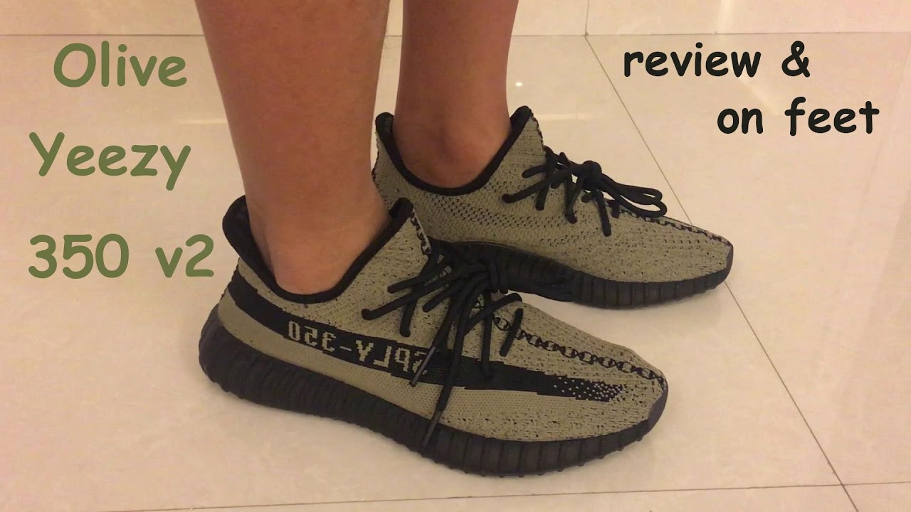 a5bc45125f8b1 Adidas Yeezy Boost 350 v2 Olive Black Review + On feet - YouTube