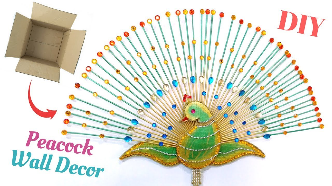 Diy peacock wall decor best out of waste from cardboard for How to make wall decoration
