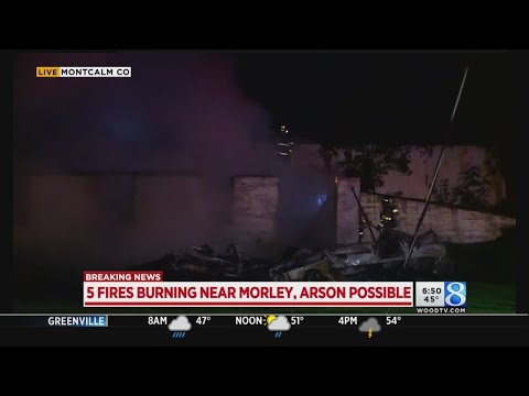 5 fires near Mecosta-Montcalm county line; arson possible