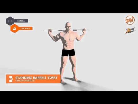 ท่าฝึกกล้ามท้อง Standing Barbell Twist