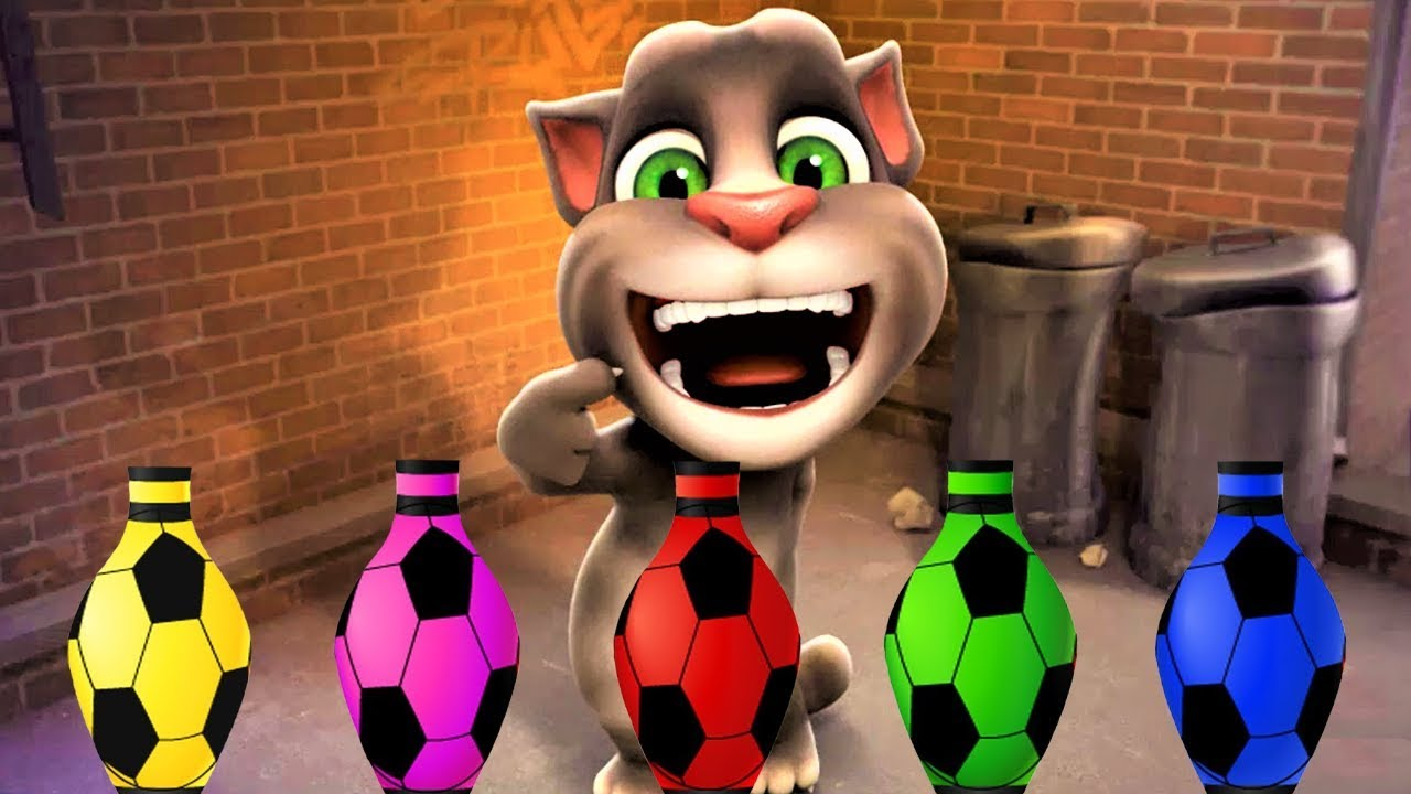 Learn Colors with Talking Tom Cat, Surprise eggs and giant candy, Compilation  for Kids #17