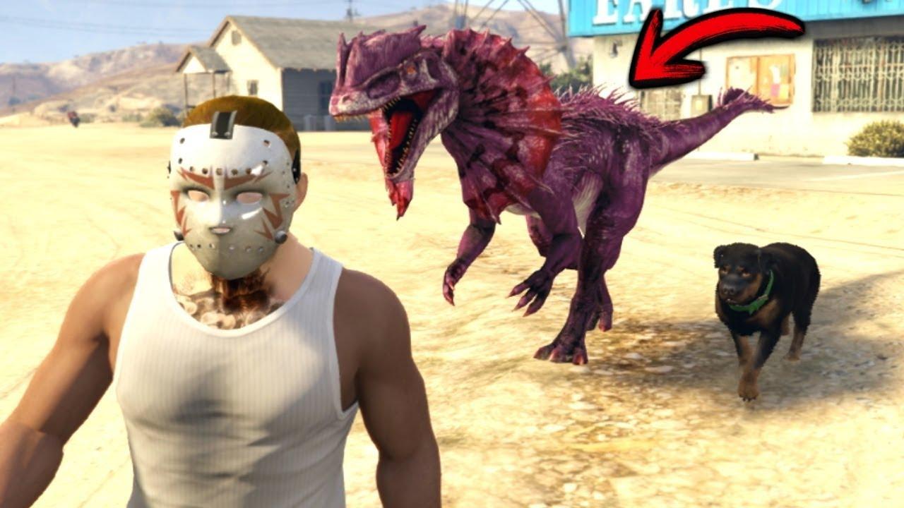¿Qué pasa Chop pelea con un Dinosaurio? - GTA 5