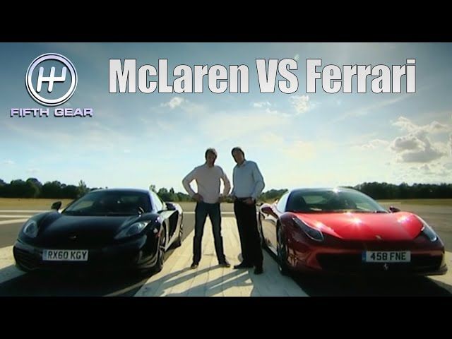 Tiff VS Jason in McLaren MP4-12C vs Ferrari 458 Italia the FULL challenge  | Fifth Gear Classic