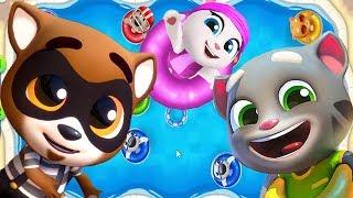 ГОВОРЯЩИЙ ТОМ АКВАПАРК #10 Анджела Хэнк Бен и Джинджер мультик игра видео для детей Talking Tom Pool