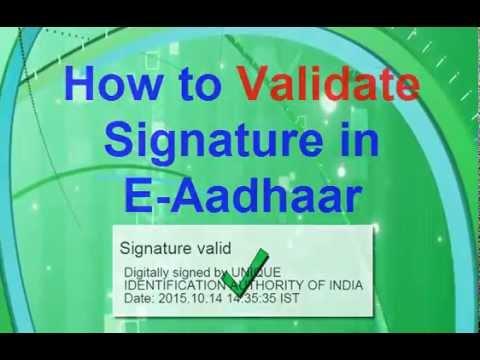 How to Validate Signature In E Aadhaar [HD]