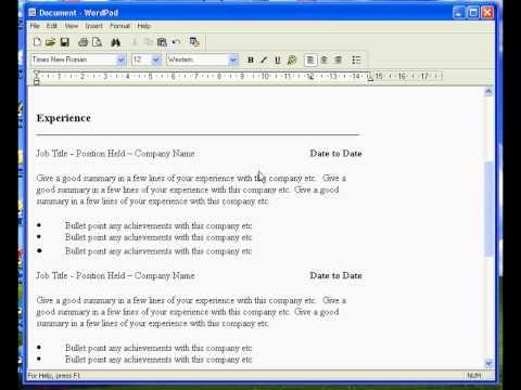 Create A Resume In Wordpad Youtube