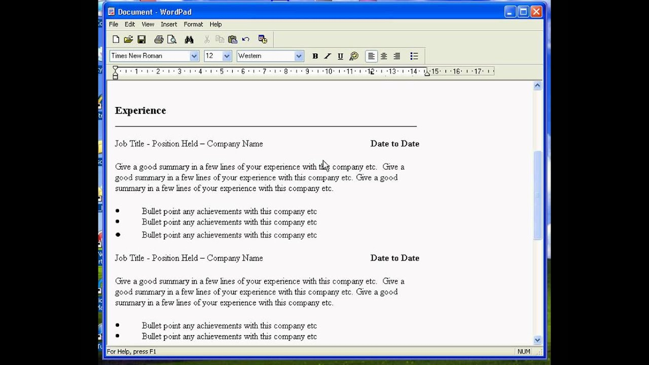 Resume Resume Format Wordpad create a resume in wordpad youtube wordpad