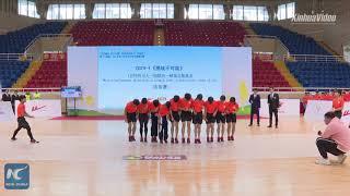 Màn nhảy dây đồng đội thách thức kỷ lục Guinness của học sinh Trung Quốc