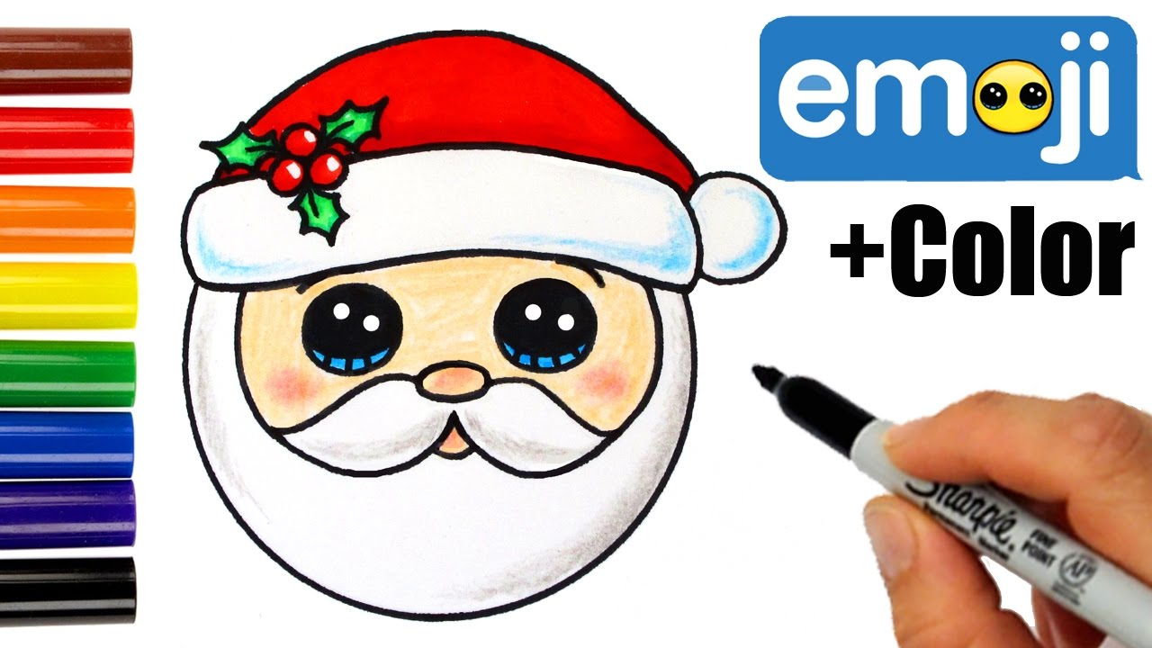 How To Draw Santa Head Emoji Super Easy Youtube