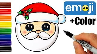 How to Draw Santa Head Emoji Super Easy