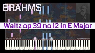 Johannes Brahms - Waltz op 39 no 12 in E Major | Synthesia Piano Tutorial | Library of Music