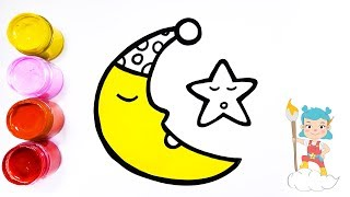 How to Draw The Moon and A Star   Coloring & Drawing for Kids