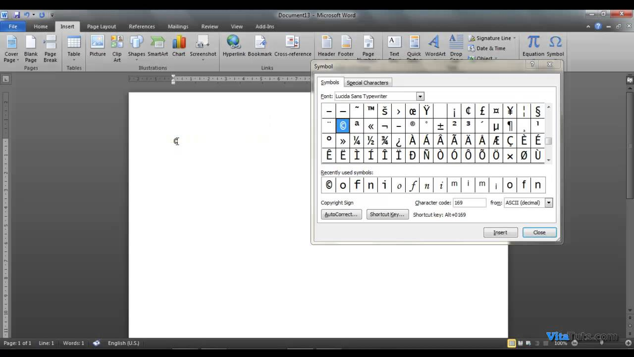 How To Insert Ascii In Word 2007 2010 Youtube