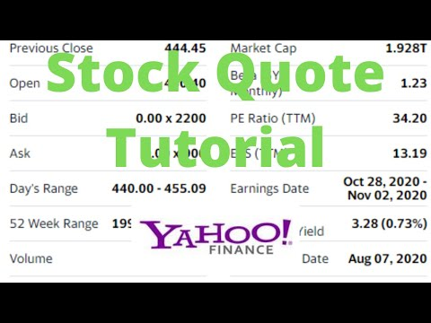 How to Read a Stock Quote on Yahoo! Finance