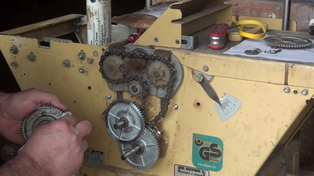 how to fix the feed rollers mechanism of a scheppach thicknesser