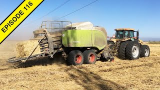 Straw Baling   Four Straw Balers in the Same Rice Field   Tractor Video