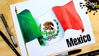 Cómo dibujar la Bandera de México / how to draw the flag of Mexico