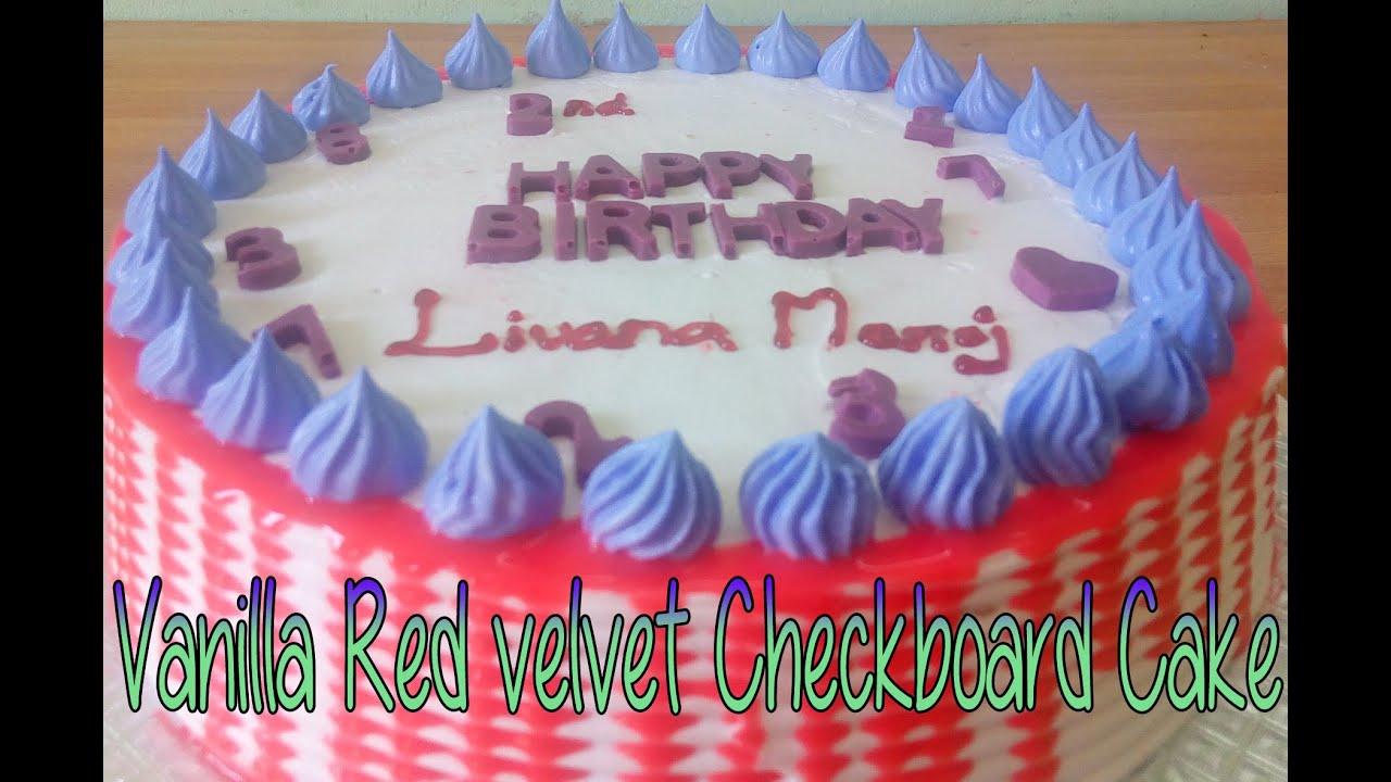 Vanilla Red Velvet Check Board Cake in malayalam {ithupole cake onnundakki  nokku oru verity ane}
