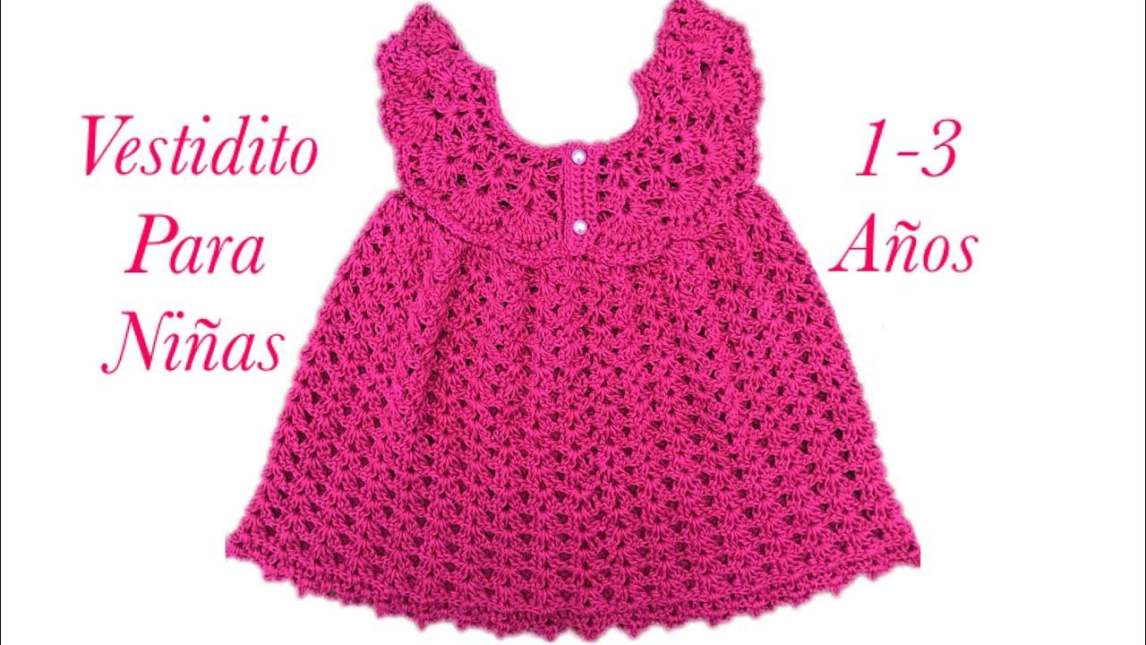 Como tejer un vestido Pinafore fácil y rápido para niñas en gancho 1-3 años   136 -Crochet for Baby 36feb576f205