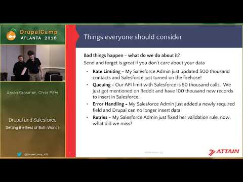 DCATL 2018 - Salesforce and Drupal Getting the Best of Both - Aaron Crosman, Chris Pifer on YouTube